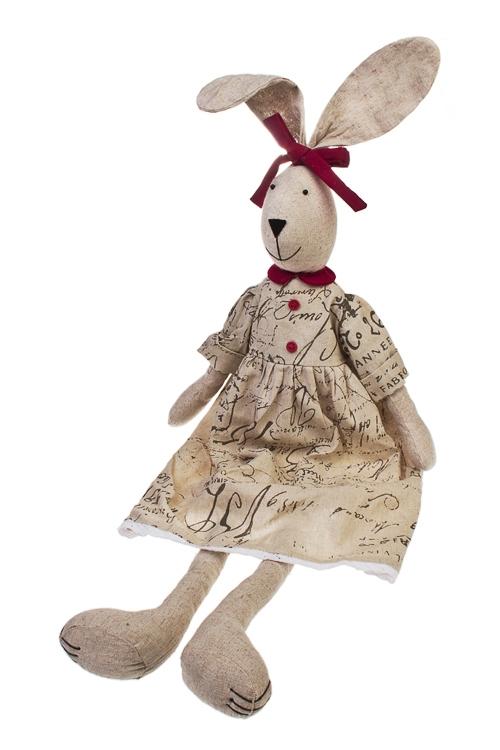 Игрушка мягкая ЗайчишкаИгрушки и куклы<br>Выс=65см, текстиль, борд.-крем. (2 вида), ручная работа<br>