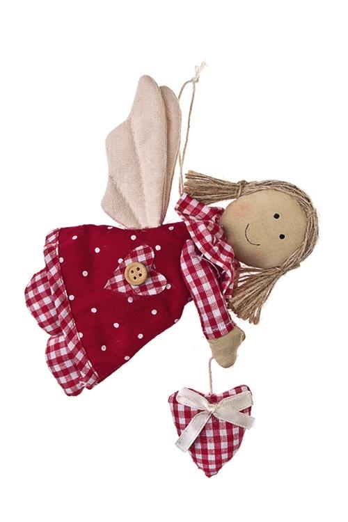 Кукла мягконабивная Парящий ангелИгрушки-куклы<br>Выс=16см, текстиль, красно-беж., подвесная (3 вида)<br>