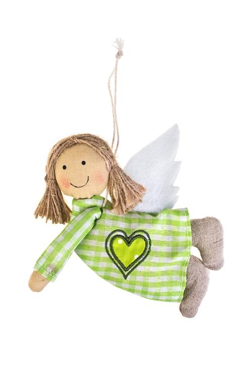 Кукла мягконабивная Летняя феяТекстильные игрушки<br>Выс=16см, текстиль, желто-зеленая, подвесная (4 вида), ручн.раб.<br>