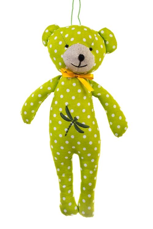 Игрушка мягконабивная МишуткиИгрушки и куклы<br>Выс=30см, текстиль, желто-зеленая, подвесная (4 вида), ручн.раб.<br>
