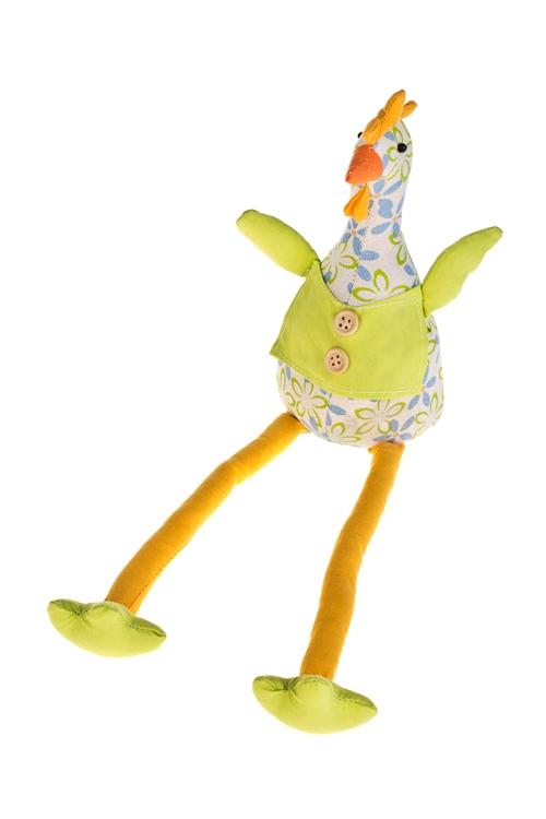 Игрушка мягконабивная Яркая курицаИгрушки и куклы<br>Выс=35см, текстиль, оранж.-зеленая (2 вида), ручная работа<br>