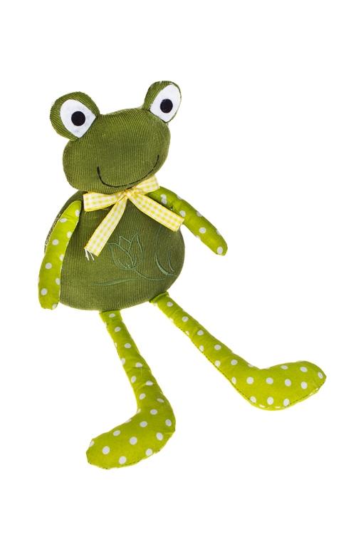 Игрушка мягконабивная ЛягушонокТекстильные игрушки<br>Выс=30см, текстиль, желто-зеленая, ручная работа<br>
