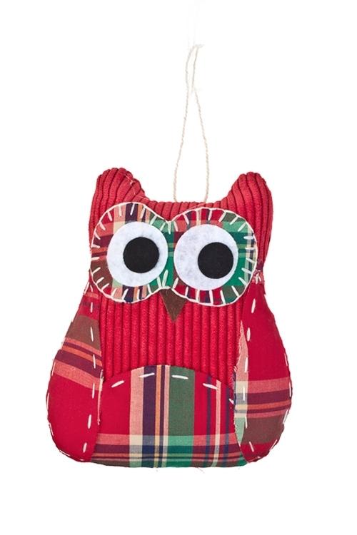 Игрушка мягконабивная СовенокПодарки ко дню рождения<br>Выс=14см, текстиль, зел.-красн., подвесная (3 вида), ручная работа<br>
