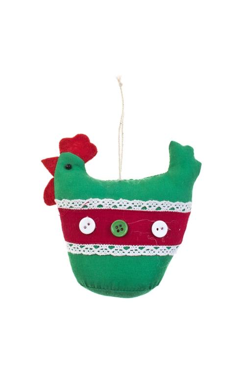 Игрушка мягконабивная Яркая кураИгрушки и куклы<br>Выс=11см, текстиль, зелено-красная, подвесная, ручн. раб.<br>