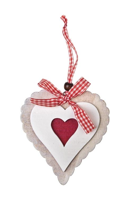Украшение декоративное Сердце с кружевным узоромСувениры и упаковка<br>Выс=10см, дерево, подвесное<br>