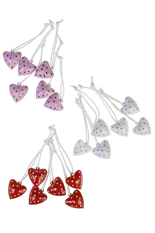 Украшение декоративное Сердце в горошекДекоративные гирлянды и подвески<br>Выс=3см, металл, подвесное (3 вида)<br>