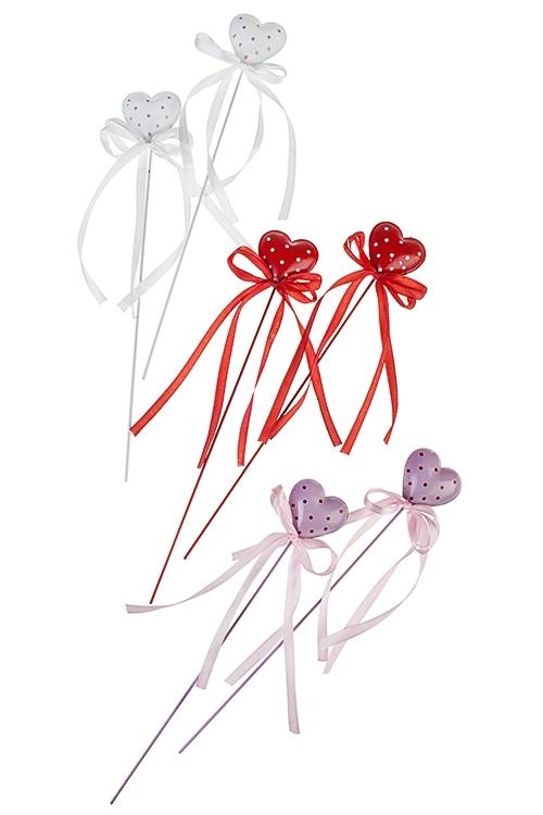 Украшение декоративное Сердце в горошекСувениры и упаковка<br>Выс=27см, металл, на палке (3 вида)<br>
