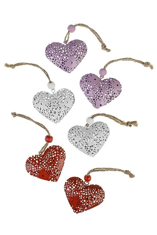 Украшение декоративное Ажурное сердцеДекоративные гирлянды и подвески<br>Выс=4.5см, металл, подвесное (3 вида)<br>
