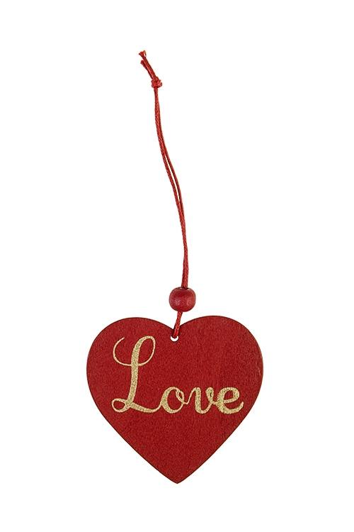 Украшение декоративное СердцеДекоративные гирлянды и подвески<br>Выс=5.5см, дерево, подвесное (3 вида)<br>