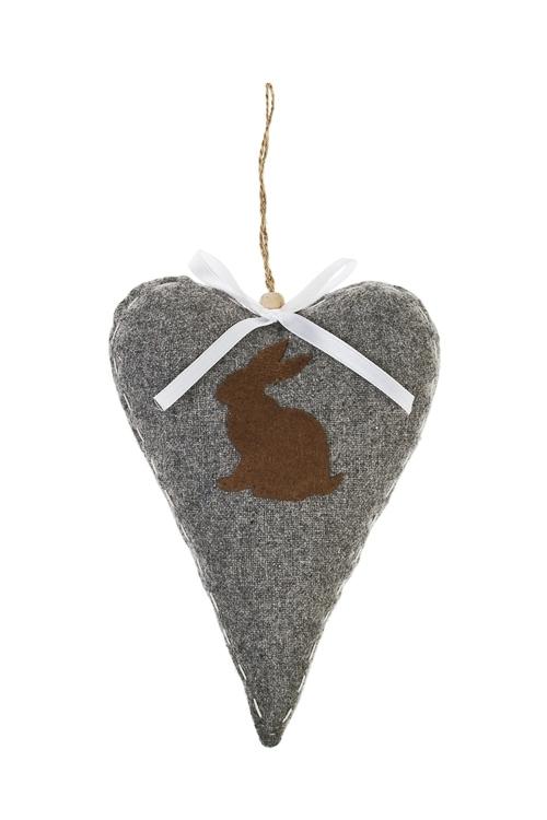 Украшение декоративное Сердце с зайчикомСувениры и упаковка<br>Выс=16см, текстиль, подвесное (3 цвета), ручная работа<br>