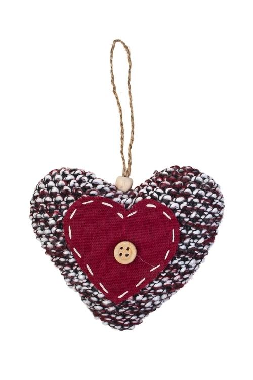 Украшение декоративное Сердце с пуговкойДекоративные гирлянды и подвески<br>Выс=10см, текстиль, крас.-вишн., подвесн. (2 вида), ручн. раб<br>