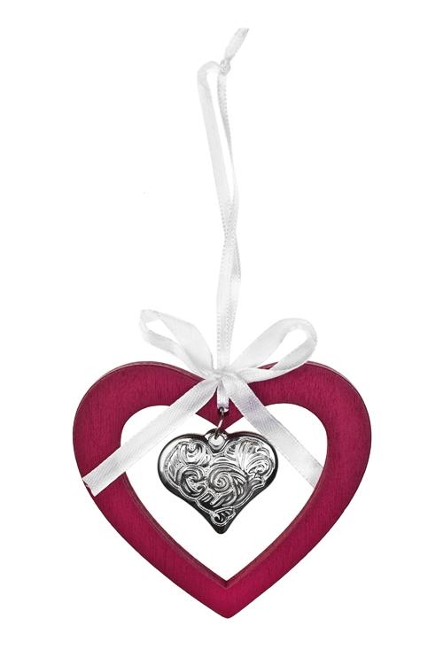 Украшение декоративное СердечкоСувениры и упаковка<br>Выс=9см, дерево, металл, малин.-серебр., подвесное<br>