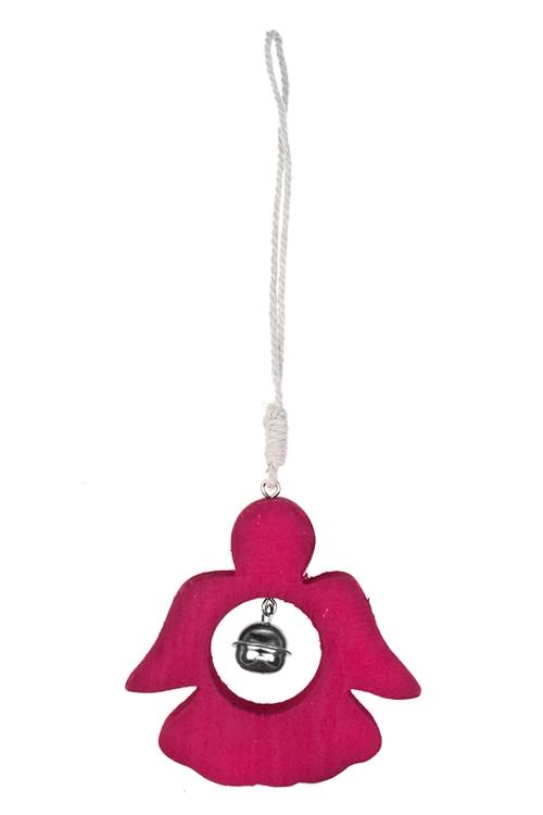 Украшение декоративное Ангел с колокольчикомСувениры и упаковка<br>Выс=10см, дерево, металл, бел., малин., подвесн (2 цвета)<br>