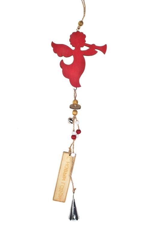 Украшение декоративное Парящий ангелСувениры и упаковка<br>Дл=36см, дерево, красное, подвесное<br>