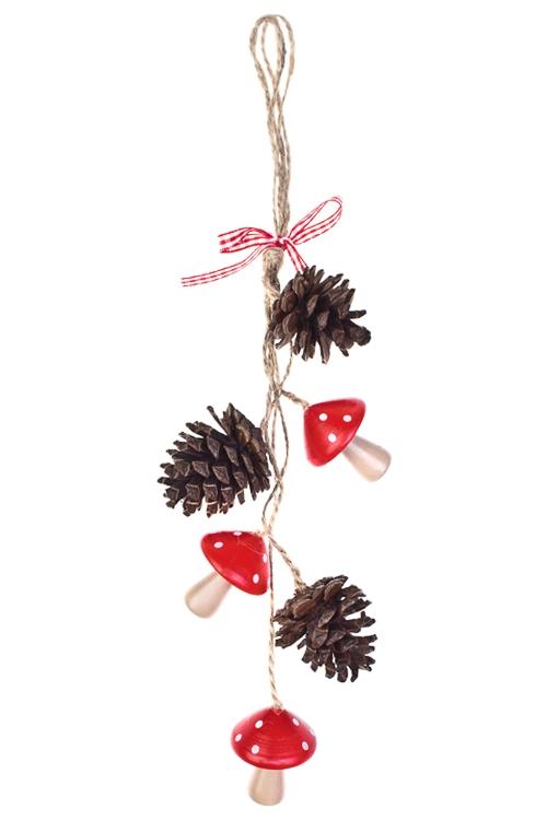 Украшение декоративное Грибочки и шишкиСувениры и упаковка<br>Дл=34см, натур. матер., красное, подвесное<br>