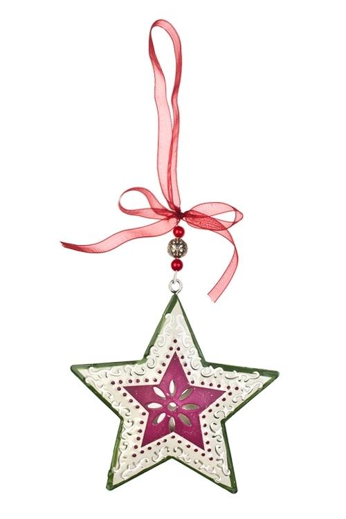 Украшение декоративное Ажурная звездочкаСувениры и упаковка<br>Выс=10см, металл, крем.-вишнево-зеленое, подвесное<br>