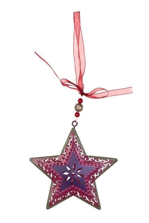 Украшение декоративное Ажурная звездочкаСувениры и упаковка<br>Выс=10см, металл, малин.-фиолет., подвесное<br>