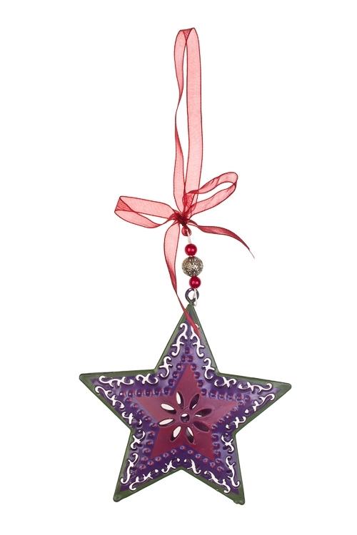 Украшение декоративное Ажурная звездочкаСувениры и упаковка<br>Выс=10см, металл, фиолет.-малин.-зелен., подвесное<br>