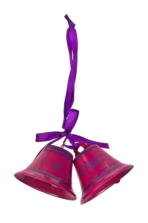 Украшение декоративное КолокольчикиДекоративные гирлянды и подвески<br>Выс=6см, металл, малин.-фиолет., подвесное<br>