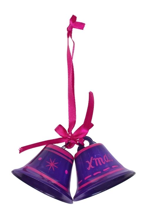 Украшение декоративное КолокольчикиДекоративные гирлянды и подвески<br>Выс=6см, металл, фиолет.-малин., подвесное<br>