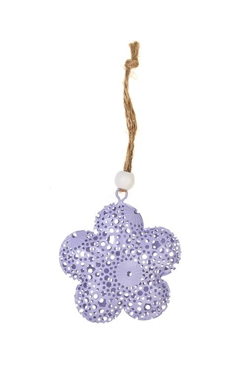 Украшение декоративное Ажурный цветокПодарки<br>Д=5.5см, металл, сирен., фиолет., вишн., подвес. (3 цвета)<br>