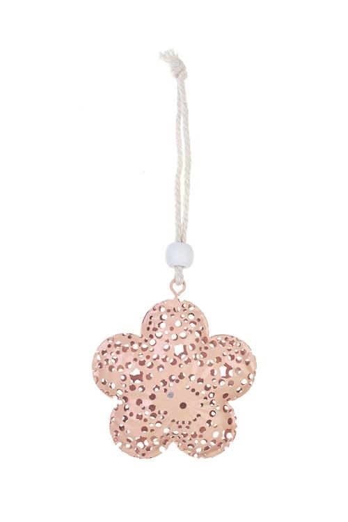 Украшение декоративное Ажурный цветокЕлочные игрушки<br>Д=5.5см, металл, мятное, розовое, подвесное (2 цвета)<br>