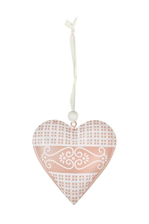 Украшение декоративное Сердце с узоромСердца на 14 февраля<br>Выс=11см, металл, розово-крем., подвесное<br>