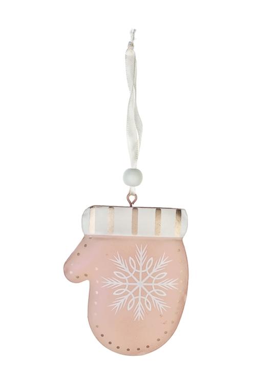 Украшение декоративное Варежка со снежинкойЕлочные игрушки<br>Выс=10см, металл, крем.-розовое, подвесное<br>