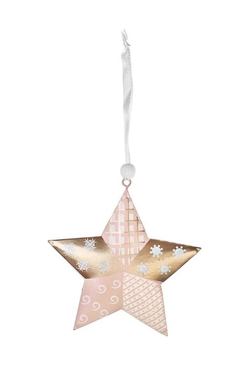 Украшение декоративное ЗвездочкаЕлочные игрушки<br>Выс=11см, металл, крем.-розово-золот., подвесное<br>