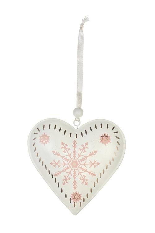 Украшение декоративное Сердце со снежинкойПодарки на Новый год 2018<br>Выс=12см, металл, крем.-розовое, подвесное<br>