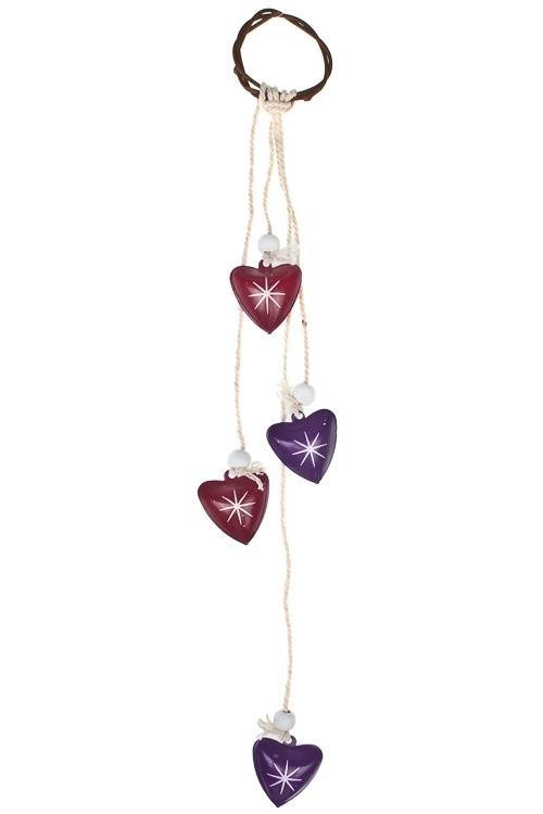 Украшение декоративное Нежные сердцаЕлочные игрушки<br>Дл=35см, металл, сирен.-вишнев.-фиолет., подвес. (2 цвета)<br>