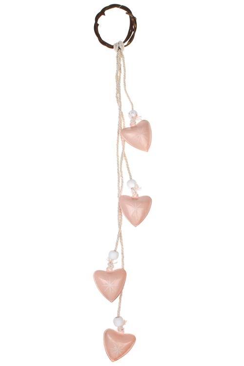 Украшение декоративное Нежные сердцаПодарки<br>Дл=28см, металл, розово-крем., подвесное<br>