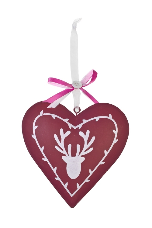 Украшение декоративное Яркое сердце с оленемПодарки на Новый год 2018<br>Выс=16.5см, металл, розовое, подвесное<br>