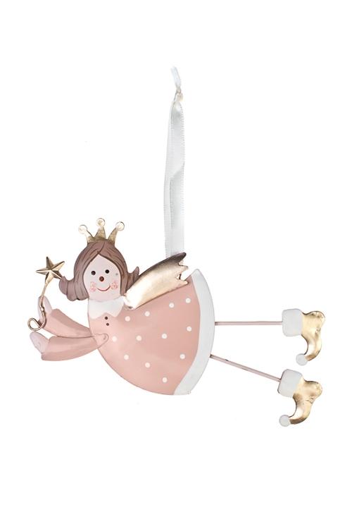 Украшение декоративное Парящий ангелокЕлочные игрушки<br>7*16см, металл, розово-золот., подвесное<br>