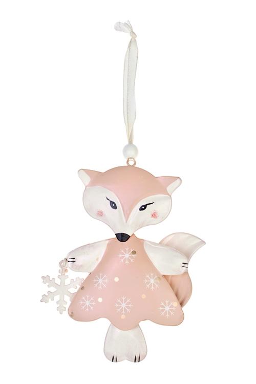 Украшение декоративное Милая лисичка со снежинкойПодарки<br>Выс=13см, металл, крем.-розовое, подвесное<br>