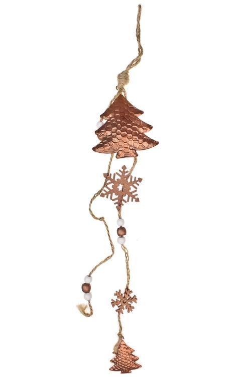 Украшение декоративное Подвеска со снежинкамиПодарки<br>Выс=40см, металл, розов.золот., подвесное<br>