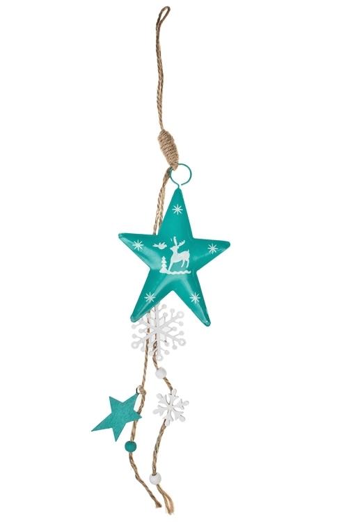 Украшение декоративное Звезды с оленямиПодарки<br>Дл=45см, металл, бело-малин.-бирюз., подвесное (3 цвета)<br>