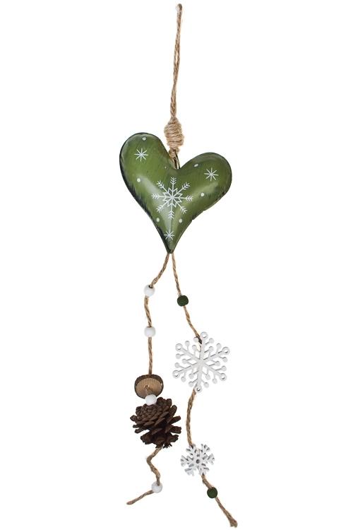 Украшение декоративное Сердечко со снежинкойЕлочные игрушки<br>Дл=49см, металл, бело-красно-зелен., подвесное (3 цвета)<br>