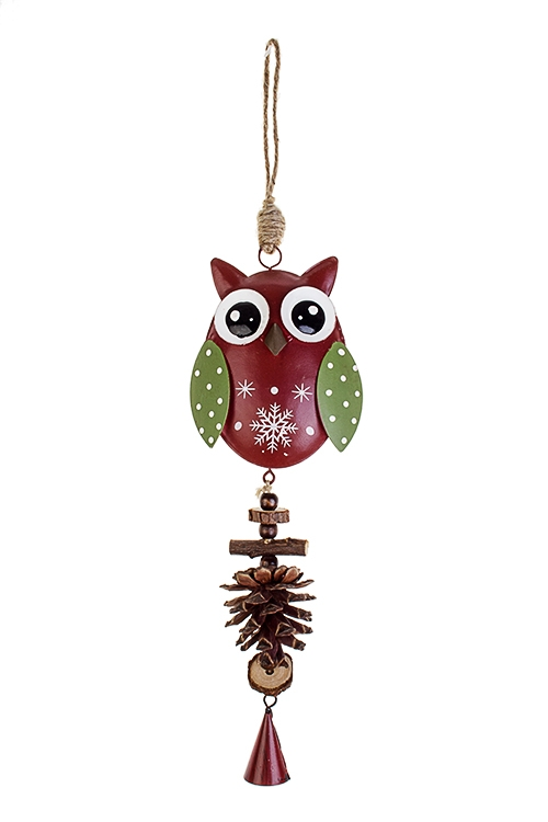 Украшение декоративное Совушка со снежинкойЕлочные игрушки<br>Дл=35см, металл, бело-красно-зелен., подвесное (3 цвета)<br>