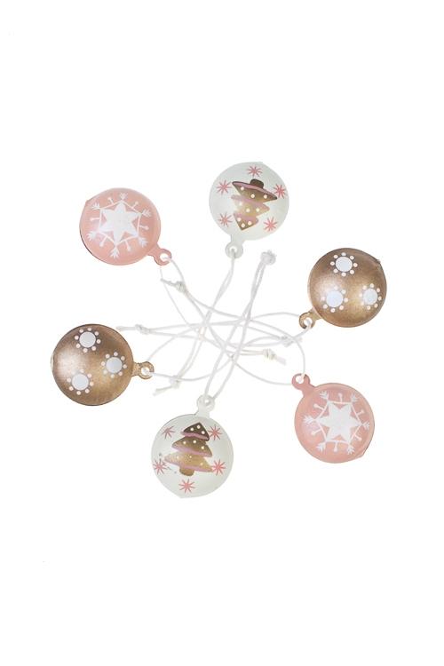 Набор украшений декоративных Новогодние подвескиЕлочные игрушки<br>Д=3см, металл, крем-розово-золот., подвес<br>