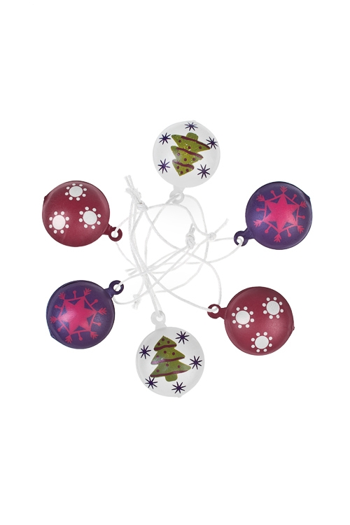 Набор украшений декоративных Новогодние подвескиПодарки на Новый год 2018<br>Д=3см, металл, крем-малин-фиолет., подвес<br>