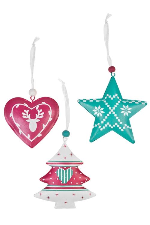 Набор украшений декоративных Прекрасная подвескаЕлочные игрушки<br>Выс=7см, металл, бело-малин.-бирюз., подвес<br>