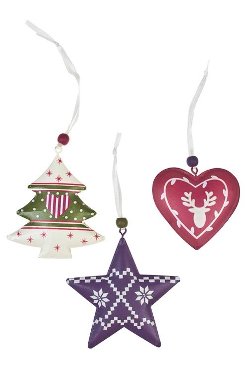 Набор украшений декоративных Прекрасная подвескаПодарки<br>Выс=7см, металл, крем.-малин.-фиолет, подвес<br>
