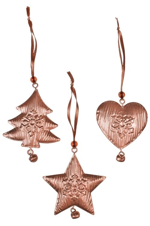Набор украшений декоративных Подвеска с бубенцомПодарки<br>Выс=7см, металл, розов.золот., подвесной<br>