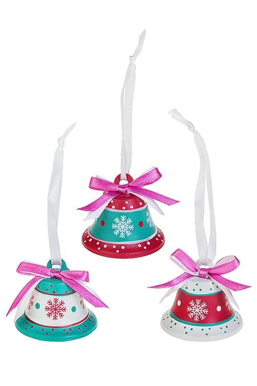 Набор колокольчиков декоративных Новогодние колокольчикиПодарки на Новый год 2018<br>Выс=4.5см, металл, бело-малин-бирюз, подвес<br>