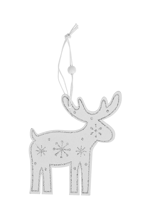 Украшение декоративное Сказочный лосикПодарки на Новый год 2018<br>Выс=10см, дерево, белое, подвесное<br>