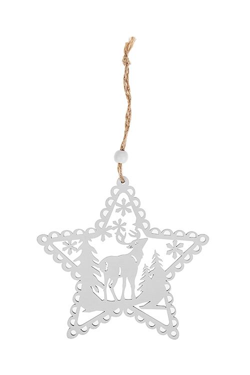 Украшение декоративное Лесная сказкаПодарки<br>Выс=10см, дерево, белое, подвесное (3 вида)<br>