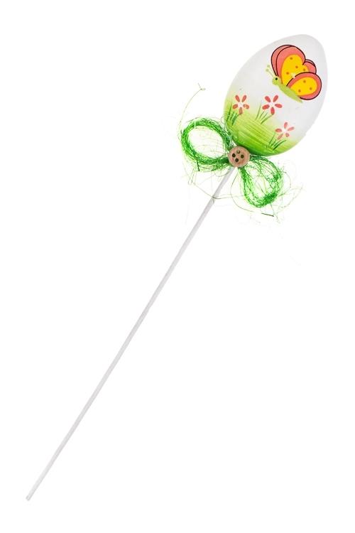 Украшение декоративное Весеннее яичкоСувениры и упаковка<br>Выс=7см, пластм., на палке (2 вида)<br>