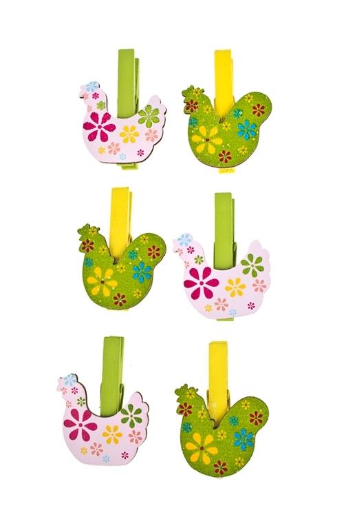 Набор украшений декоративных ВеснаСувениры и упаковка<br>Выс=3см, дерево (2 вида), на прищепке<br>