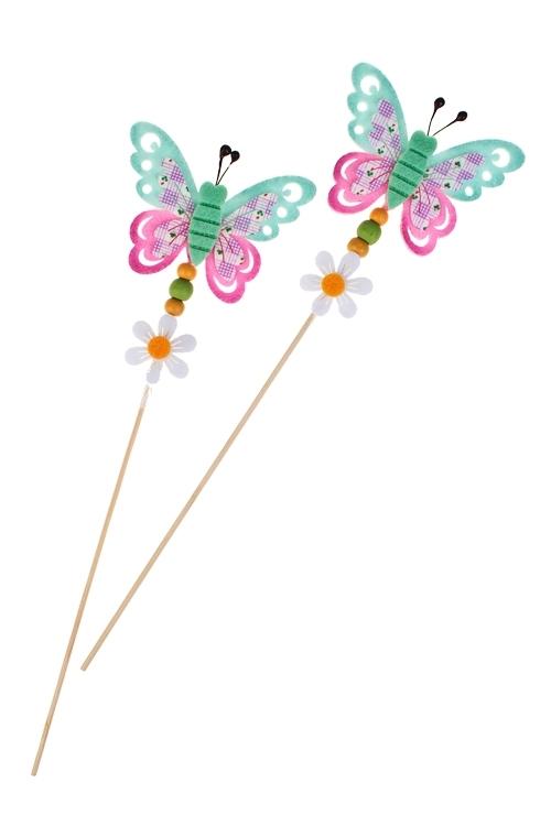 Набор украшений декоративных БабочкиСувениры и упаковка<br>Выс=7см, фетр, на палке<br>